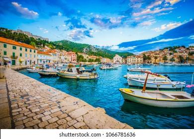 Scenic coast of town Hvar at sunset, Dalmatia, Croatia