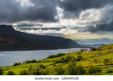 Scenic Coastal Landscape With Single House At Loch Broom Near Ullapool In Scotland