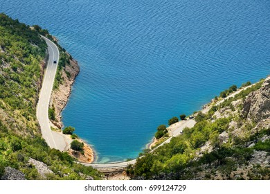 Scenic coastal road under Velebit mountains on Dalmatian coast, Croatia