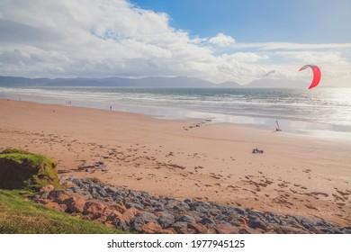 Scenic coastal seascape of Banna Strand beach at Ballyheigue Bay on the Atlantic coast of Ireland.