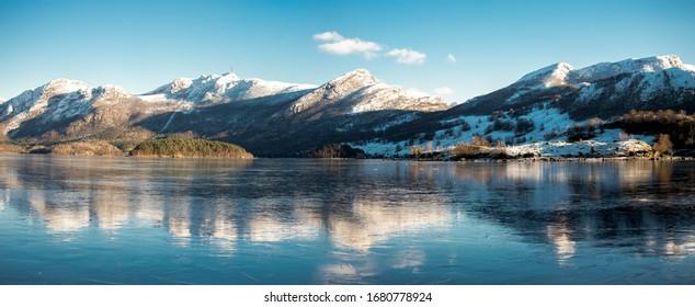 Scenic coastline of Oltedalsvatnet lake during winter season, Gjesdal commune, Norway, February 2018