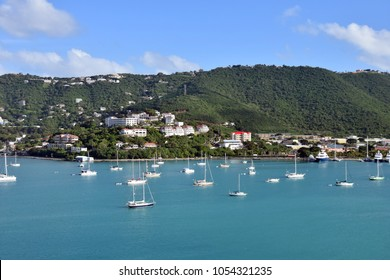 Scenic coastline and sailboats near St Thomas, US Virgin Islands