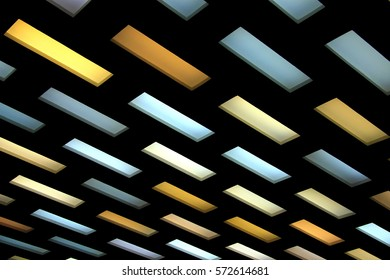 Scenic colored yellow, blue, lilac and white ceiling hanging  lamps on a black background, office space design, innovative lighting, light fixture, diagonal position.