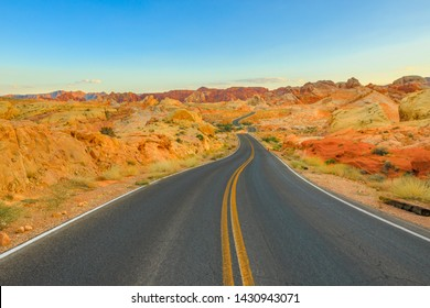 The scenic colorful drive Rainbow Vista Road inside the Valley of Fire at sunset. Valley of Fire is Nevada's oldest state park located in Mojave Desert, 58 miles of Las Vegas, Unites States.
