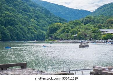 Scenic cruise in beautiful nature scenic view, Kyoto, Japan