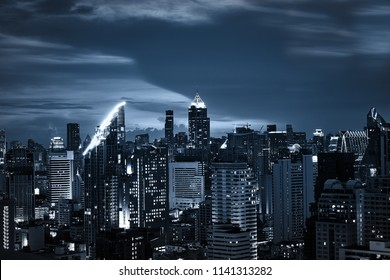 scenic of dark night urban cityscape building with skyline for montage on product or background