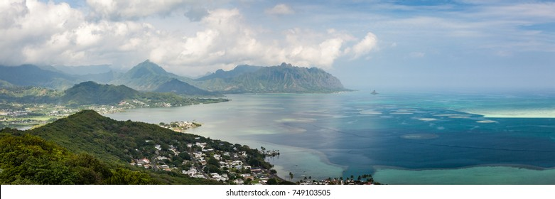 Scenic day seascape panorama of Kaneohe Bay and Kualoa Ridge in the distance. Oahu, Hawaii, USA.