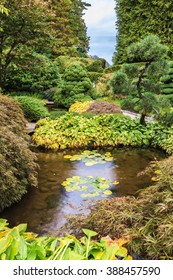 Scenic decorative park Butchart Gardens on Vancouver Island, Canada. Quiet little pond with lilies