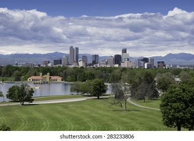 Scenic Denver, the Mile High City, with City Park in the foreground, on a clear spring day.