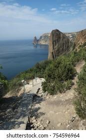 The scenic descent to the sea.