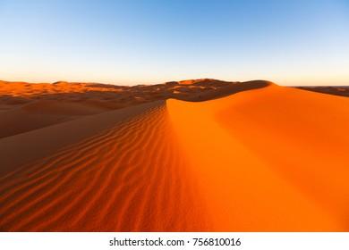 Scenic desert dunes landscape near Merzouga, Marroko
