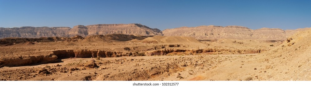 Scenic desert landscape in the Small Crater (Makhtesh Katan) in Negev, Israel
