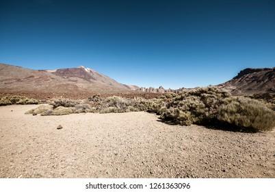 Scenic desert landscape with volcano
