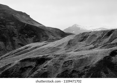 Scenic desolate mountain formation in icelands south, april 2018