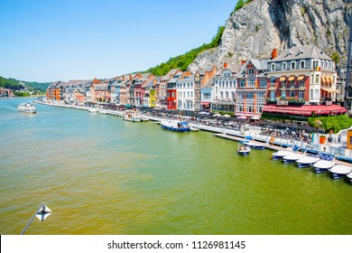 Scenic Dinant and the river Meuse in the Province Namur, Belgian Ardennes, Belgium, 06-30-2018
