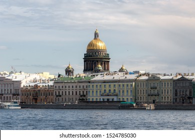 The scenic Dome of Saint Isaac's Cathedral, as seen from Neva River, St. Petersburg, Russia