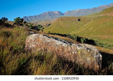 Scenic Drakensberg mountain landscape, Giants Castle nature reserve, South Africa