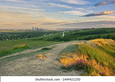 Scenic Dramatic Sunset Sky Landscape View of Downtown Calgary Alberta City Center and Prairie Natural Grassland from Nose Hill Northwest Urban Park in early Summer