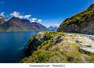 Scenic drive along coast of glenorchy queenstown, South Island,