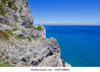 Scenic drive along the Liguria coast. Step cliffs and beautiful blue sea panorama, Liguria, Italy