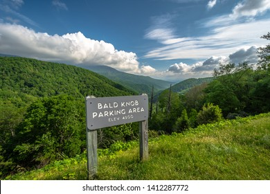 Scenic drive from Bald Knob Parking Area elevation 4500 ft. on Blue Ridge Parkway, Blue sky background with cloudy