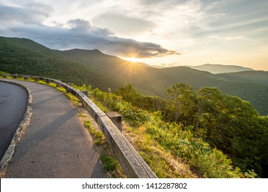 Scenic drive from Lane Pinnacle Overlook on Blue Ridge Parkway at sunrise time.