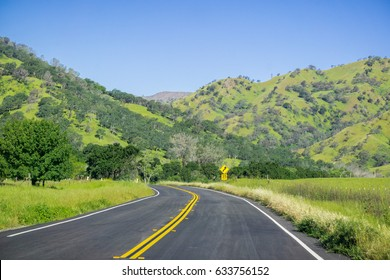 Scenic drive through the verdant hills of Napa Valley, California