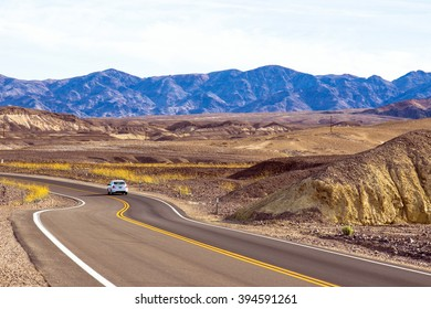 Scenic drive with wildflowers in Death Valley National Park