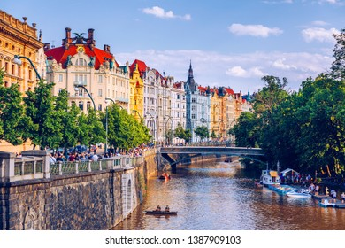 Scenic embankment in Prague city; Historical center of Prague, buildings and landmarks of old town, Prague, Czech Republic