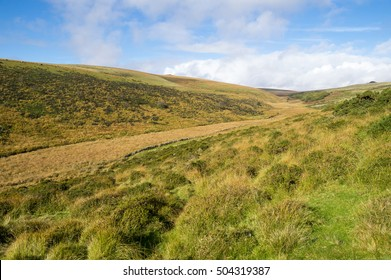Scenic English countryside landscape view of a valley in Dartmoor in Devon, the county in Southwest England
