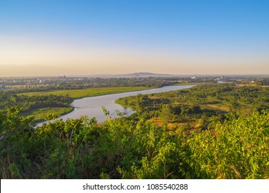 Scenic evening view of the Blue Nile river, Bahir Dar and Lake Tana in the background. Nature and travel. Ethiopia, Amhara Region