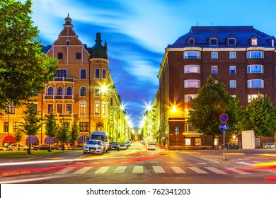 Scenic evening view of the Old Town artchitecture and city street in Helsinki, Finland