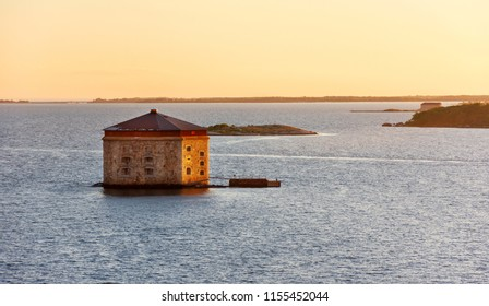 Scenic evening view on Godnatt naval keep (fortress in the sea for defense of naval harbor) in the Baltic Sea near Karlskrona, Sweden.