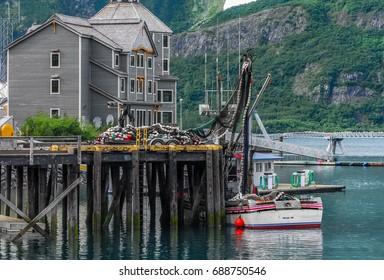 Scenic fishing pier in Whittier Alaska on Prince William Sound
