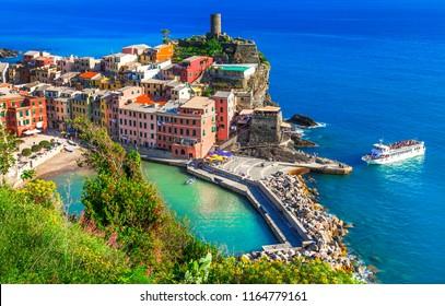 "Scenic fishing village Vernazza  in ""Cinque terre"" - national park in Liguria, Italy"