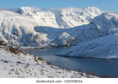 Scenic fjord landscape on the Lofoten islands, Norway, Europe, in winter
