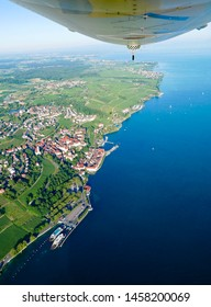 Scenic flight with the Zeppelin NT is an unforgettable experience.  Zeppelin flight on Lake Constance, Germany 07-2019