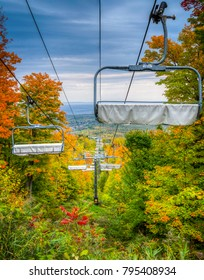 scenic forest views in autumn with chairlift