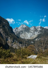 Scenic forested mountains view against blue sky during sunny autumn day