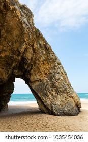 scenic geological formation Praia da Adraga (Adraga Beach) in Portugal