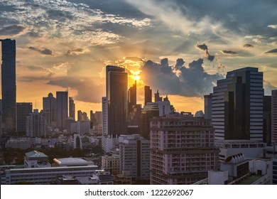 scenic of golden sunset skyline cityscape and buildings