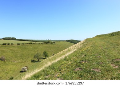 Scenic grassy valley of Horsedale in the Yorkshire wolds in summertime