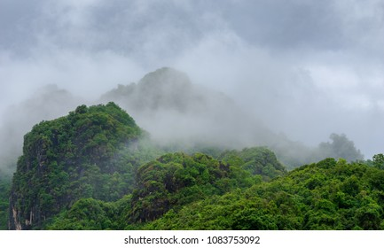 scenic of green hill mountain and fog with cloud after rains in countryside travel