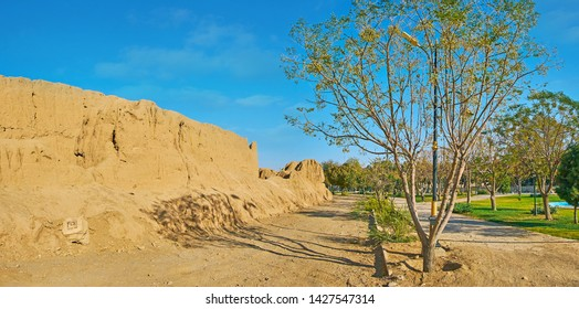 The scenic green Mellat park, located around historical Ghal'eh Jalali adobe fortress, Kashan, Iran