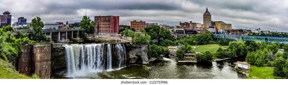 Rochester's Scenic High Falls and Kodak Tower