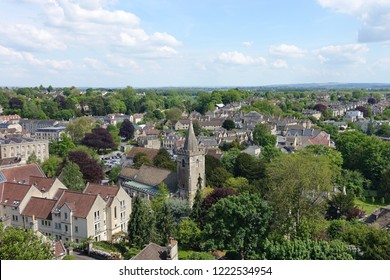 Scenic High-up View of Houses and Rooftops amongst Trees in a Beautiful English Town - Namely Historic Bradford on Avon in Wiltshire England