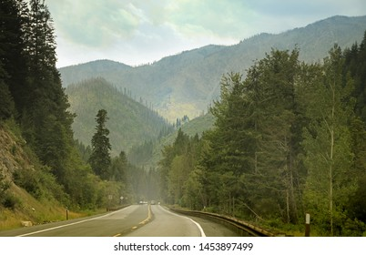 Scenic highway number 2 through North Cascades national forest