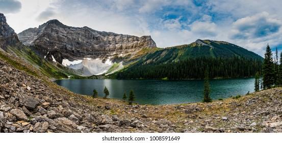 Scenic hiking views of Rawson Lake in Kananaskis Country, Peter Lougheed Provincial Park Alberta Canada