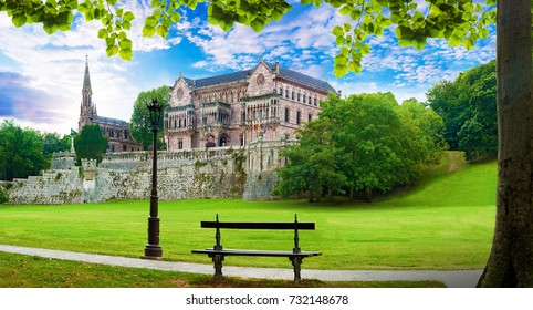 Scenic historic architecture and garden.Cantabria and Santander tourism landmark.Sobrellano palace in Comillas. Spain travel and adventures