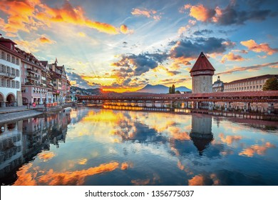 Scenic historic city center view of Lucerne with famous Chapel Bridge and lake Lucerne (Vierwaldstattersee), Canton of Lucerne, Switzerland